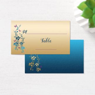 Teal, Gold, Purple Floral, Butterflies Placecards Business Card