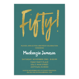 Teal Gold Script 50th Birthday Party Invitation