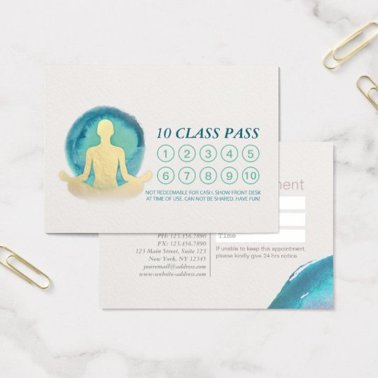 Teal & Gold Watercolor YOGA Class Pass Appointment Business Card