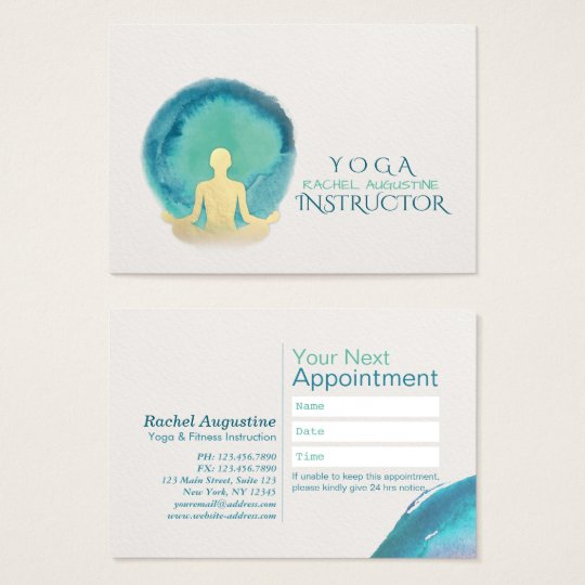 Teal & Gold Watercolor YOGA Instructor Appointment Business Card