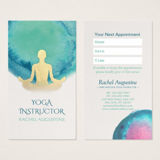 Teal Gold Watercolor YOGA Instructor Appointment Business Card