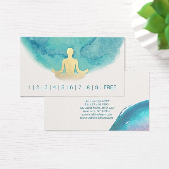 Teal Gold Watercolor YOGA Instructor Loyalty Punch Business Card