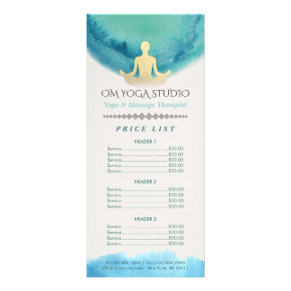 Teal Gold Watercolor YOGA Instructor Price List Rack Card
