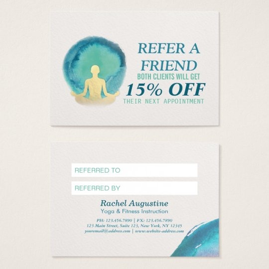 Teal Gold Watercolor YOGA Instructor Referral Card
