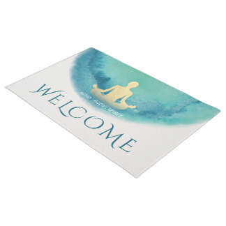 Teal Gold Watercolor Yoga instructor Welcome Doormat