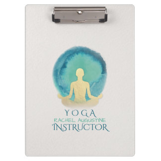 Teal Gold Watercolor Yoga Mediation instructor Clipboard