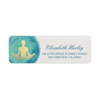 Teal Gold Watercolor Yoga Mediation Instructor Return Address Label