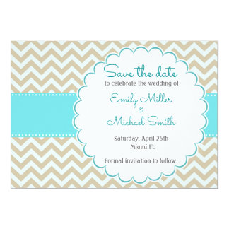 Teal Gold Wedding Save The Date Card
