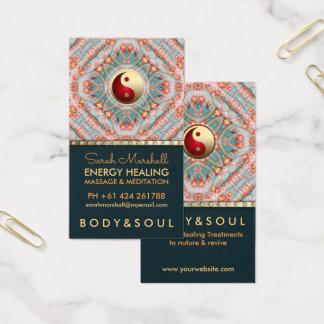 Teal Gold Yin Yang Energy Healing Kinesiology Business Card