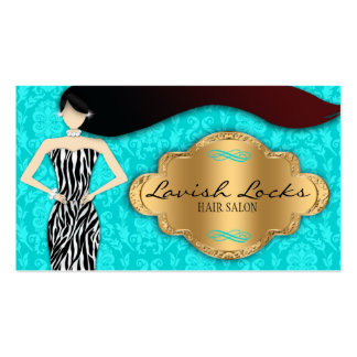 Teal Gold Zebra Damask Hair Stylist Business Card
