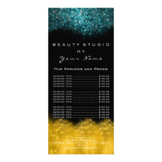 Teal GoldPrice List Lash Beauty Makeup Hairdress Rack Card