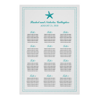 Teal Graceful Starfish 24 x 36 Seating Chart Poster