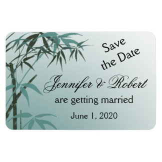 Teal Gradient Natural Bamboo Wedding Save the Date Rectangular Photo Magnet