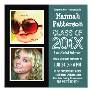 Teal Graduation Party with 2 Photos 13 Cm X 13 Cm Square Invitation Card