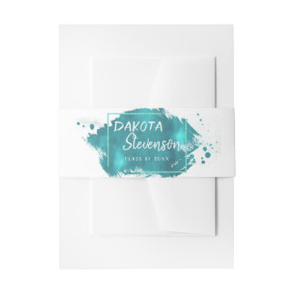 Teal Graduation | Turquoise Splatter Grad Party Invitation Belly Band