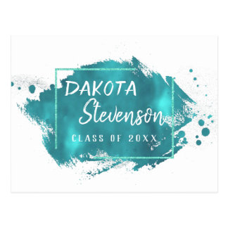 Teal Graduation | Turquoise Splatter Grad Party Postcard