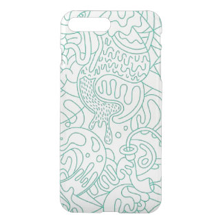 Teal Graffiti Line Illustration iPhone Case