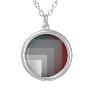 teal gray burgundy silver plated necklace