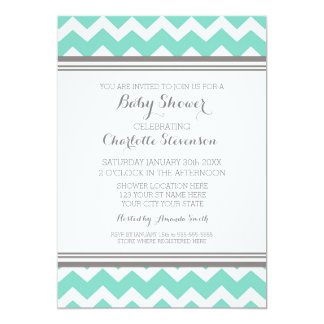 Teal Gray Chevron Custom Baby Shower Invitations