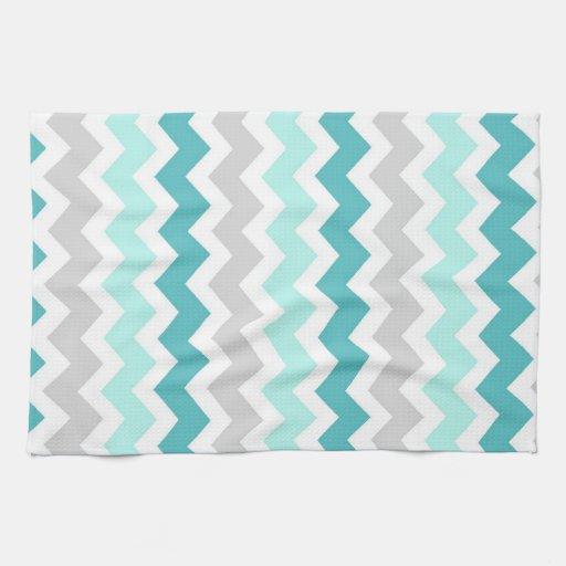 Teal Gray Chevron Kitchen Cloth Towel