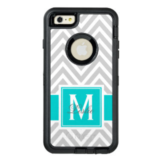 TEAL, GRAY CHEVRON PATTERN PERSONALIZED OtterBox DEFENDER iPhone CASE