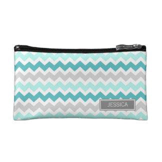 Teal Gray Chevrons Pattern Custom Name Bag Cosmetics Bags