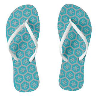 Teal Gray Geometric 4Dwayne Thongs