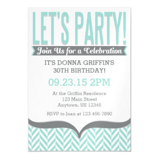 Teal Gray Modern Magnetic Birthday Invitations Magnetic Invitations