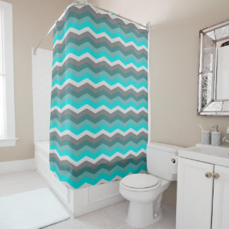 Teal Gray Ombre Chevron Shower Curtain