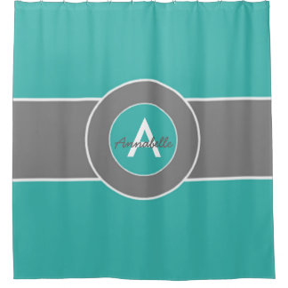 Teal Gray Shower Curtain