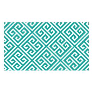 Teal Greek Key Blank Business Card Template