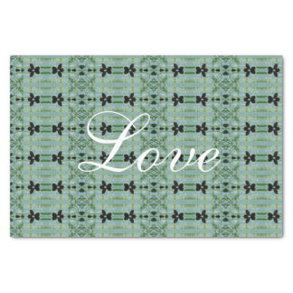 Teal Green And Floral Design Tissue Paper