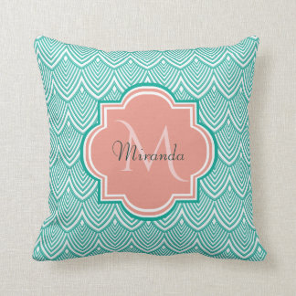 Teal Green Art Deco Fish Scales Pink Monogram Name Cushion