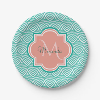 Teal Green Art Deco Fish Scales Pink Monogram Name Paper Plate