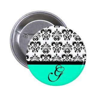 TEAL GREEN BLACK WHITE DAMASK WEDDING MONOGRAM 6 CM ROUND BADGE