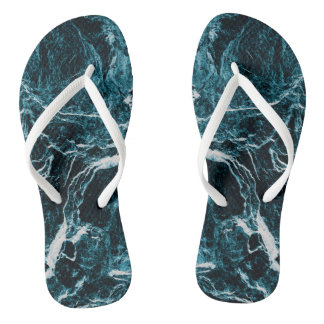 Teal Green Blue Abstract Pattern Thongs