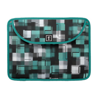 Teal Green Blue Black Abstract Pattern Sleeve For MacBook Pro