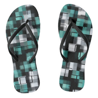 Teal Green Blue Black White Abstract Plaid Thongs