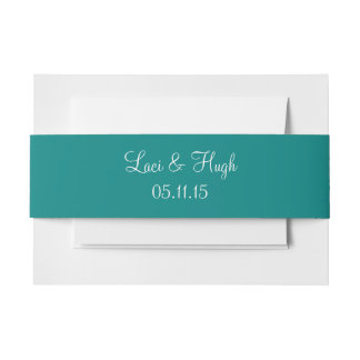 Teal Green Bold Color Matched Invitation Belly Band