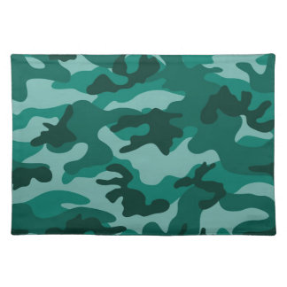 Teal Green Camo, Camouflage Placemats
