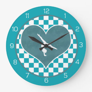 Teal Green Checkered Gymnastics Large Clock