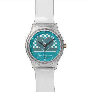 Teal Green Checkered Gymnastics with Monogram Watch