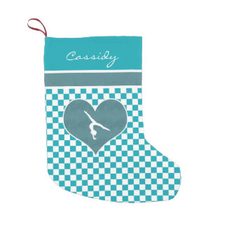 Teal Green Chequered Gymnastics with Monogram Small Christmas Stocking