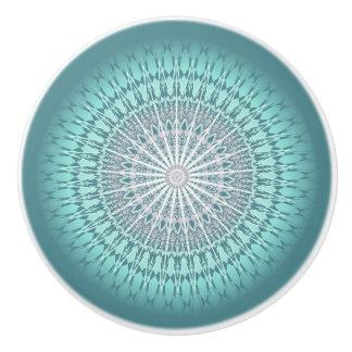 Teal Green Chevron Mandala Ceramic Knob