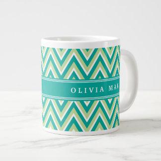 Teal Green Chevron Pattern with Name Large Coffee Mug