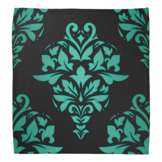 Teal Green Classic Damask on Black or Any Color Bandana