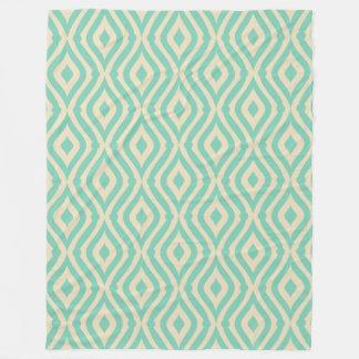 Teal-Green & Cream Retro Geometric Pattern Fleece Blanket