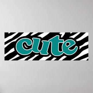 Teal Green cute zebra stripes Poster