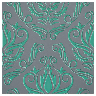 Teal Green Damask On Silver Gray Or Your Color Fabric