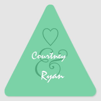 Teal Green Envelope Seal Wedding Triangle Stickers